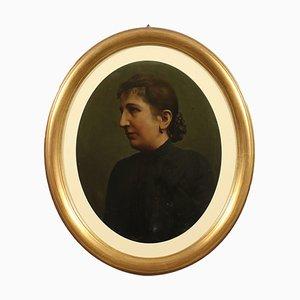 Ritratto femminile, olio su cartone