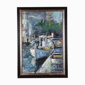 Eugeniusz Wiśniewski, Fischerboote, Öl auf Leinwand