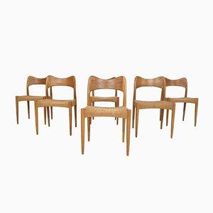 Papercord Esszimmerstühle von Arne Hovmand Olsen für Mogens Kold, Denmark, 1950er, 6er Set