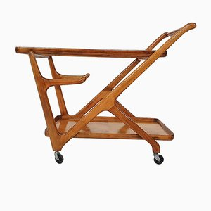 Ceder Wooden Bar Cart / Trolley by Cesare Lacca for Cassina, Italy, 1950s