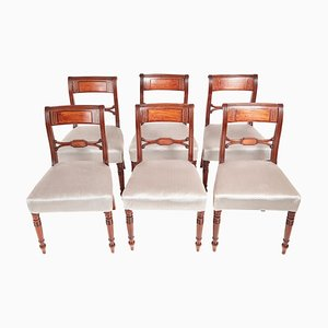 Antique George III Mahogany Brass Inlay Dining Chairs, Set of 6