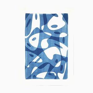 Avant Garde Palette Shapes in Blue Tones, Handmade Monotype on Paper, 2021