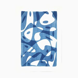 Tavolozza di forme all'avanguardia nei toni del blu, monotipo fatto a mano su carta, 2021