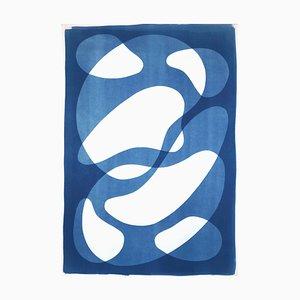 Abstracted Blue Face II, Figuren auf Papier, Monotype, 2021