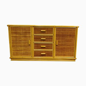 Vintage Rattan and Bamboo Sideboard, 1970s
