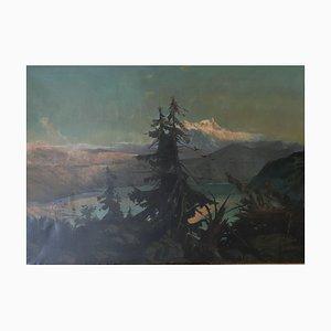 Ludwig Willroider, Lake and Mountain Sunset, 1902