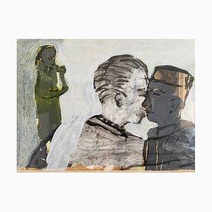 Angus Hood, Strange Encounter, Mixed Media on Paper, Figurative Painting, 1984