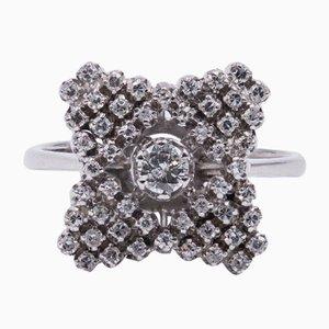 Anello vintage in oro bianco 18 carati con diamante tagliato