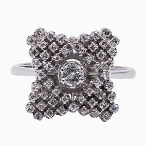 Vintage 18K White Gold Ring with Cut Diamond