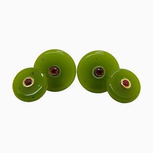 Gemelos de oro amarillo y jade verde de Berca