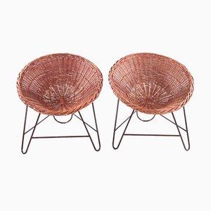 Französische Korbgeflecht Stühle von Mathieu Matégot, 1950, 2er Set