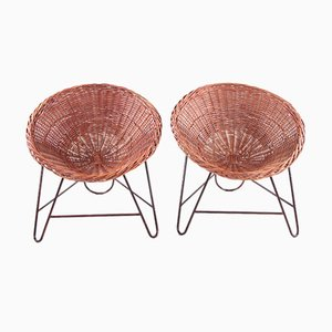 French Wicker Chairs in the Style of Mathieu Matégot, 1950, Set of 2