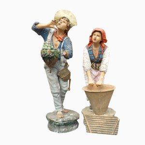 Esculturas napolitanas antiguas de terracota pintadas a mano, siglo XVIII. Juego de 2