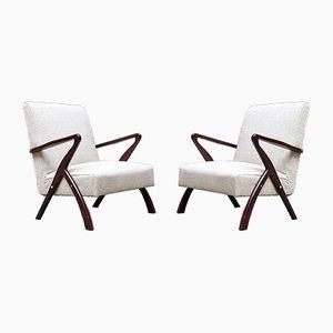 Mid-Century Italian White Beech Armchairs, 1950s, Set of 2