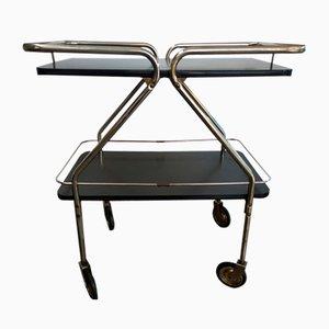 American Silver & Black Rolling Bar Cart, 1950s