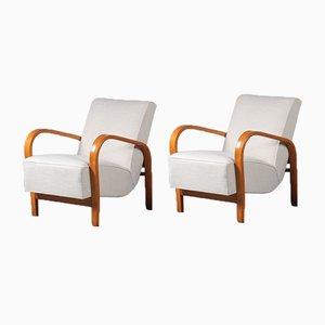 Tschechische HF11 Stühle von Jindřich Halabala, 1950er, 2er Set