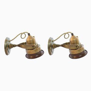 Vintage Bronze Naval Wall Lamps, Italy, 1960s, Set of 2