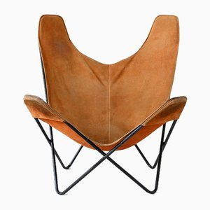 American Brown Butterfly Chair by Jorge Ferrari-Hardoy for Knoll Inc. / Knoll International, 1970s
