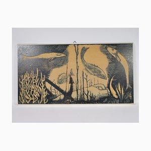 Mid-Century Print on Wood, Surealist Fish