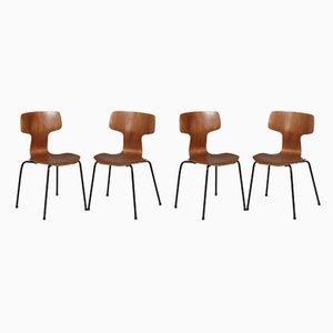 Sillas Hammer 3103 de Arne Jacobsen para Fritz Hansen, años 60 y 80. Juego de 4