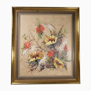 Mid-Century Abstraktes Gemälde von Blumen, Öl auf Holz