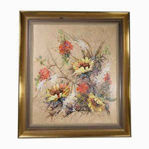 Pintura abstracta Mid-Century de flores, óleo sobre madera