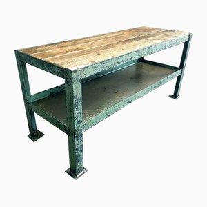 Industrial Green Steel & Wood Side Table