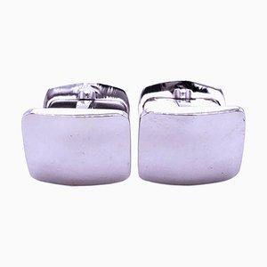 Gemelos rectangulares de plata esterlina maciza con espejo de Berca. Juego de 2