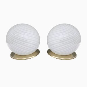 Vintage Italian Murano Glass Table Lamps by B Tronconi, Set of 2