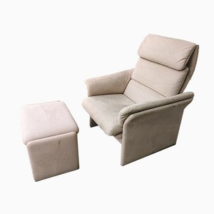 Mid-Century Recliner Armchair with Footrest Set