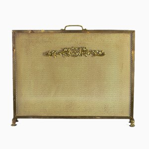 Neoclassical Style Brass and Mesh Fireplace Screen