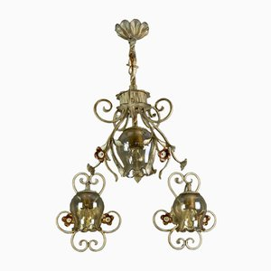 Wrought Iron and Glass Pendant Light & Sconces, Set of 3
