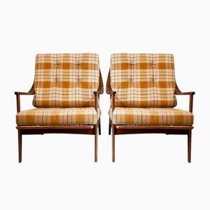 Armlehnstühle aus Nussholz, Italien, 1950er, 2er Set