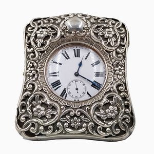 Reloj de bolsillo y estuche de viaje Goliath antiguo de plata de Hanry Mattehws, 1899