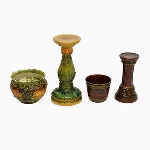 Soportes para plantas antiguos de porcelana mayólica. Juego de 2