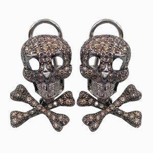 Skull Earrings with Diamonds
