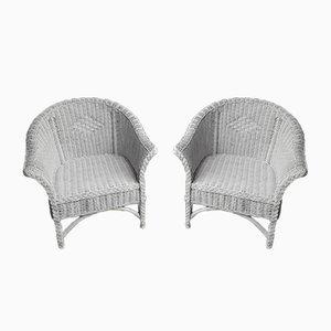 Weiße Korbgeflecht Stühle, 2er Set