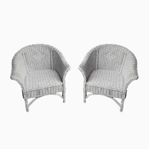 White Wicker Chairs, Set of 2