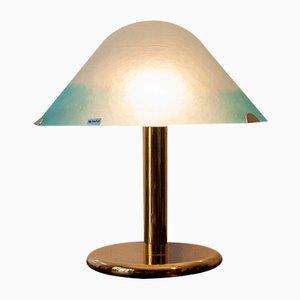 Italienische Lampe aus vergoldetem Metall & Muranoglas von Veart, 1970er