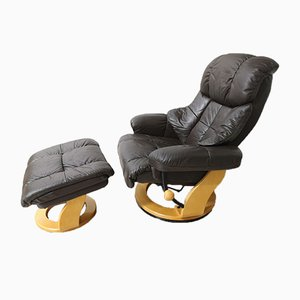 Mid-Century Lounge Chair with Footrest Set