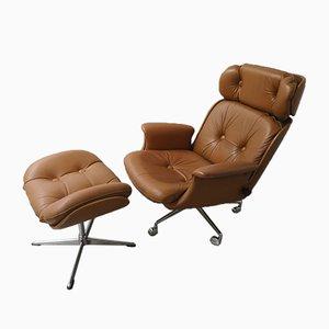 Mid-Century Sessel mit Fußhocker Set