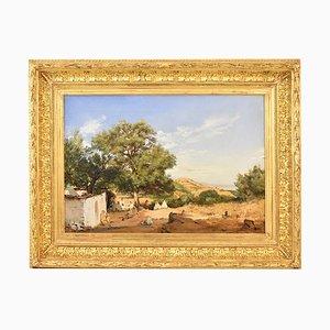 Antique Landscape Painting, Women Resting