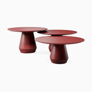Charlotte Triple Dark Red Coffee Tables, Set of 3