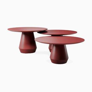 Tavolini da caffè Charlotte tripli rosso scuro, set di 3
