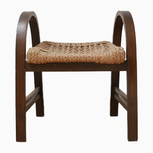 Mid-Century French Bentwood and Rope Stool by Adrien Audoux & Frida Minet