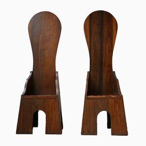 Mid-Century Italian Dining Chairs by Mario Ceroli for Poltronova, Set of 2