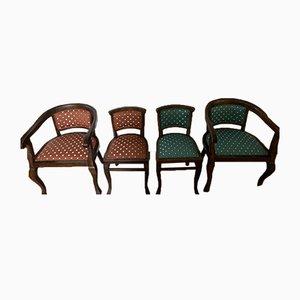 Orange & Blue Steel Club Chairs, Set of 4
