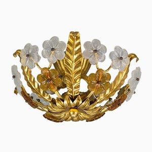 Vintage Floral Gilt Tole & Glass Flush Mount