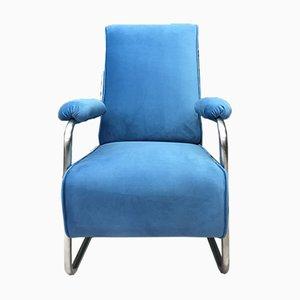 Vintage Industrial Metal Blue Chair Armchair
