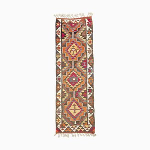 Vintage Turkish Sun-Faded Patterned Kilim Rug